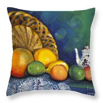 Throw Pillow featuring the painting Fruit On Doily by Marlene Book