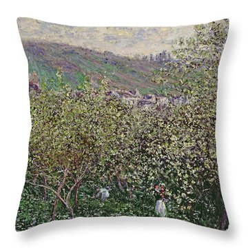 Fruit Pickers Throw Pillow by Claude Monet