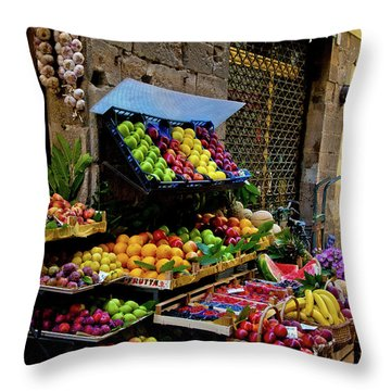 Throw Pillow featuring the photograph Fruit Stand  by Harry Spitz