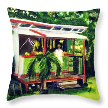 Fruit Stand North Shore Oahu Hawaii #163 Throw Pillow by Donald k Hall