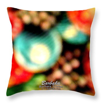 Throw Pillow featuring the photograph Fruit Sticker by Barbara Tristan