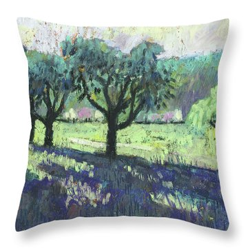 Fruit Trees, Spring Landscape Throw Pillow