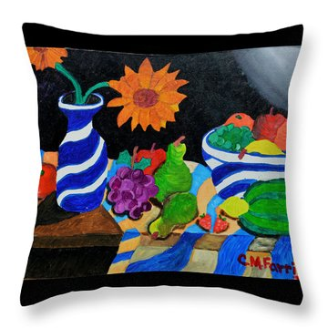 Throw Pillow featuring the painting Fruitful Still Life by Christopher M Farris