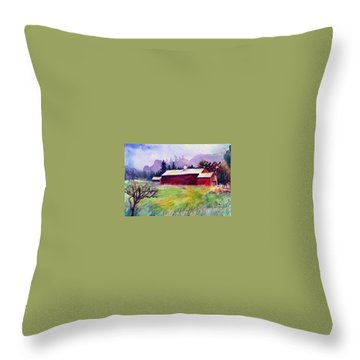 Throw Pillow featuring the painting Fruitlands Museum II by Priti Lathia