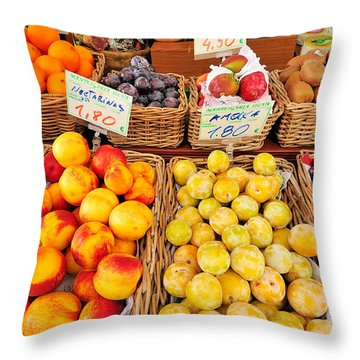 Fruits Throw Pillow by Marwan Khoury