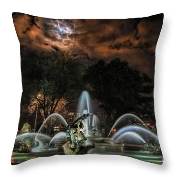 Full Moon At The Fountain Throw Pillow