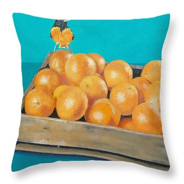 Throw Pillow featuring the painting Frustrated Oriole by Susan DeLain