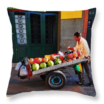 Fruta Limpia Throw Pillow by Skip Hunt