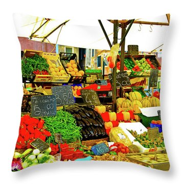 Throw Pillow featuring the photograph Fruttolo Italian Vegetable Stand by Harry Spitz