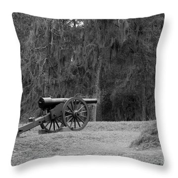 Ft. Mcallister Cannon 2 Black And White Throw Pillow