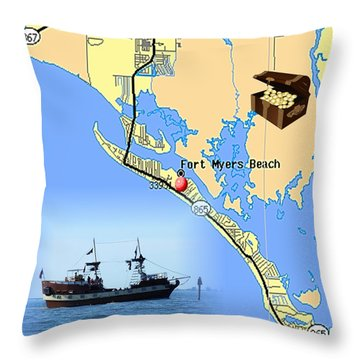 Ft Myers Beach Pirate Ship Throw Pillow