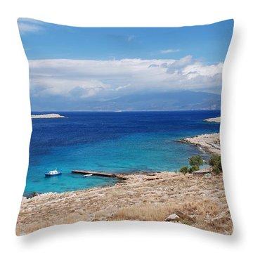 Ftenagia Beach On Halki Throw Pillow