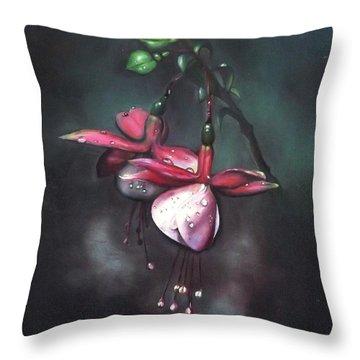 Fuchsia And Dew  Throw Pillow