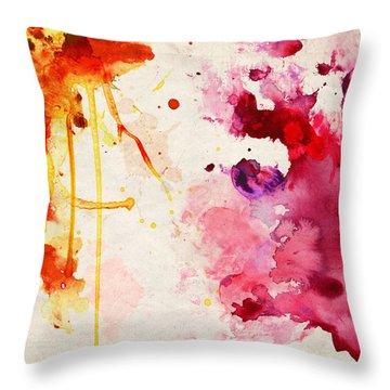 Fuchsia And Orange Color Splash Throw Pillow