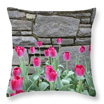 Fuchsia Color Tulips Throw Pillow