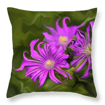 Throw Pillow featuring the digital art Fuchsia Flower - Digital Painting by Cristina Stefan