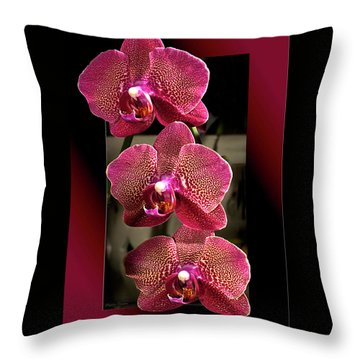 Fuchsia Orchids Oof Throw Pillow by Phyllis Denton