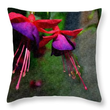 Fuchsia's Beating As One Together -silk Edit Throw Pillow