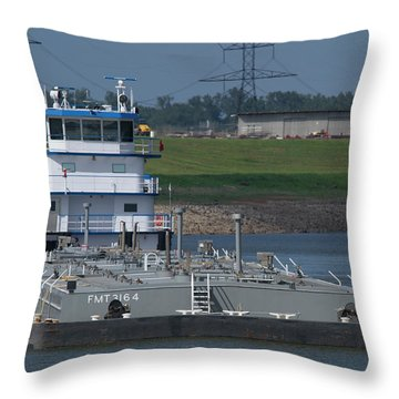 Fuel Barge On The Mississippi R Throw Pillow by Garry McMichael