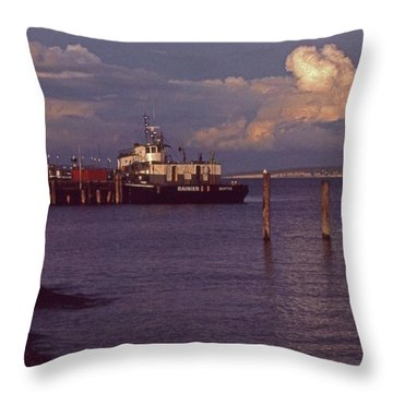 Fuel Dock, Port Townsend Throw Pillow