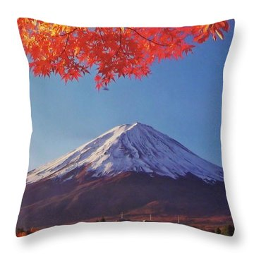 Fuji Shine In Autumn Leaves Throw Pillow