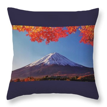 Fuji Shine In Autumn Leaves Throw Pillow