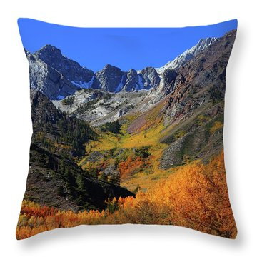 Full Autumn Display At Mcgee Creek Canyon In The Eastern Sierras Throw Pillow
