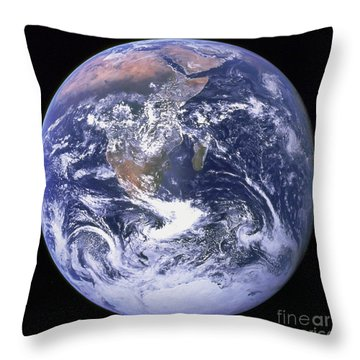 Full Earth Throw Pillow by Stocktrek Images