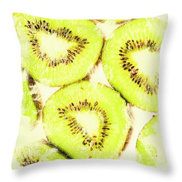 Full Frame Shot Of Fresh Kiwi Slices With Seeds Throw Pillow