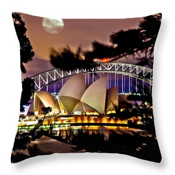 Full Moon Above Throw Pillow
