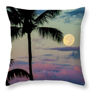 Full Moon And Palm Trees Throw Pillow