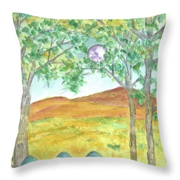 Throw Pillow featuring the drawing Full Moon And Robin Eggs by Cathie Richardson