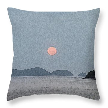 Full Moon At The Beach Throw Pillow