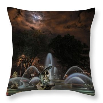 Full Moon At The Fountain Throw Pillow by Lynn Sprowl