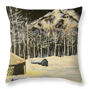Full Moon At The Sundance Nordic Center Throw Pillow