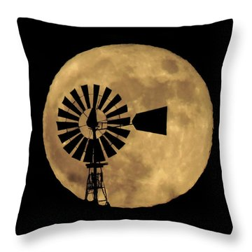 Full Moon Behind Windmill Throw Pillow