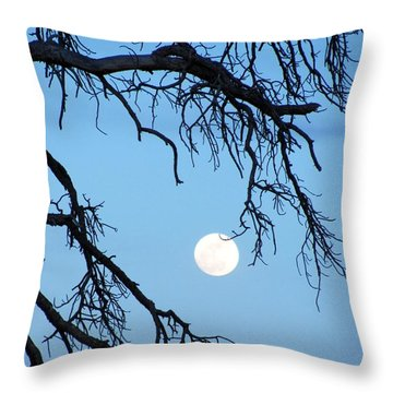Full Moon Blue Sky Throw Pillow