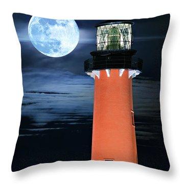 Full Moon Closeup Next To Jupiter Lighthouse In Florida Throw Pillow
