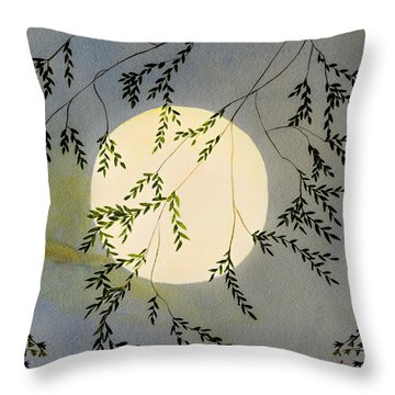 Moon And Tree Branch Painting Throw Pillow
