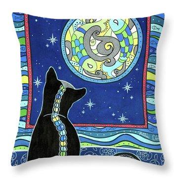 Pisces Cat Zodiac - Full Moon Throw Pillow