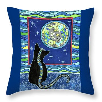 Pisces Cat Zodiac - Full Moon Throw Pillow