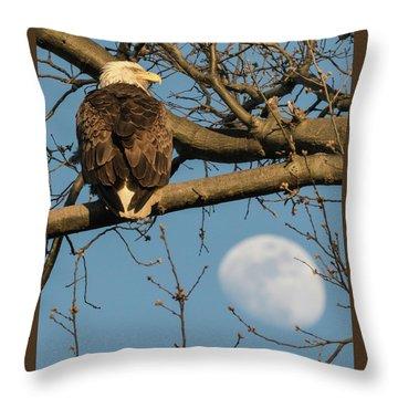 Full Moon Eagle  Throw Pillow