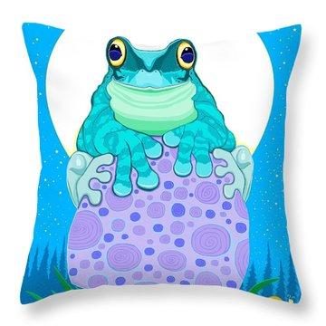 Full Moon Froggy  Throw Pillow