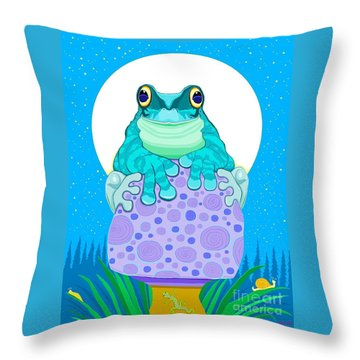 Throw Pillow featuring the digital art Full Moon Froggy  by Nick Gustafson