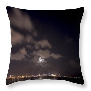 Full Moon In Miami Throw Pillow