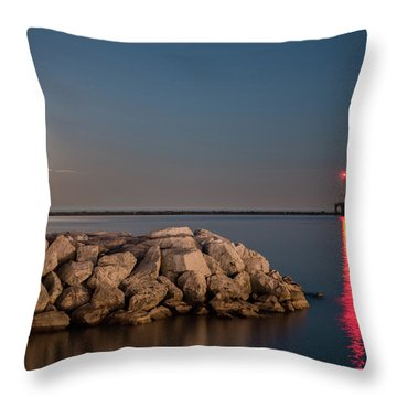 Full Moon In Port Throw Pillow