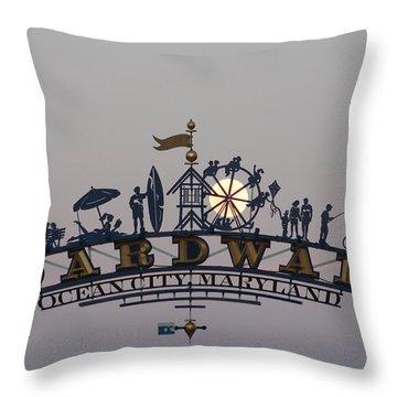 Full Moon In The Boardwalk Arch Ferris Wheel Throw Pillow