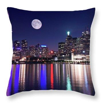 Full Moon In Toronto Throw Pillow