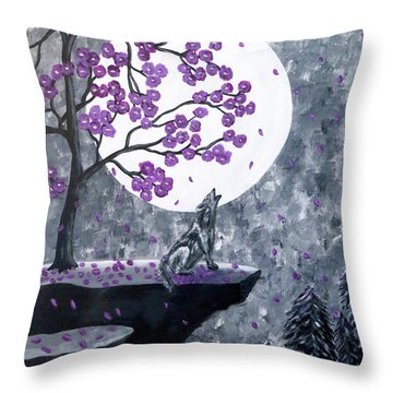Throw Pillow featuring the painting Full Moon Magic by Teresa Wing