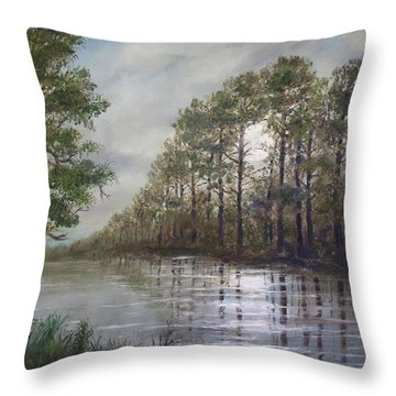 Full Moon On The River Throw Pillow